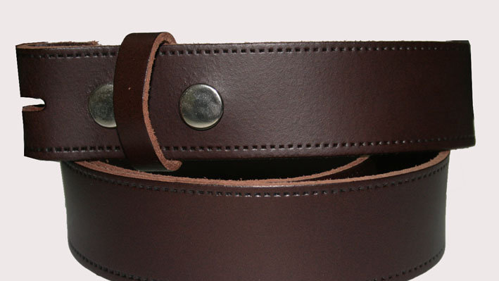 Brown Leather snap belt (BE006)