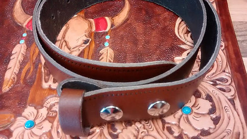 Brown Leather Snap Belt (BE007)