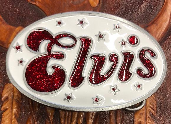 Elvis Belt Buckle (Red on White) (BU4)