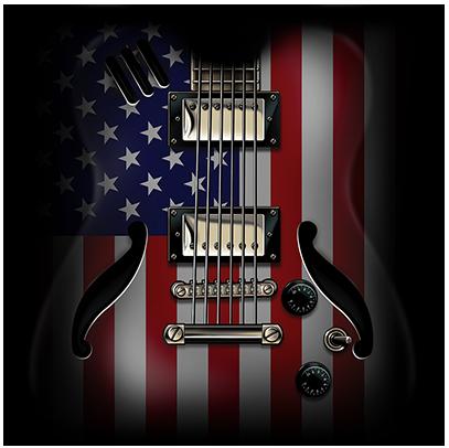Flag Guitar Black (USA22)