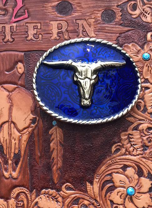 Brass painted Steer Buckle