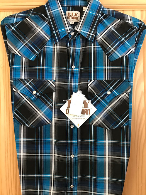 Ely Colbalt plaid Western Shirt   E06