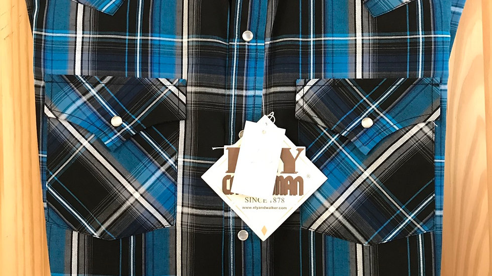 Ely Colbalt plaid Western Shirt   E06