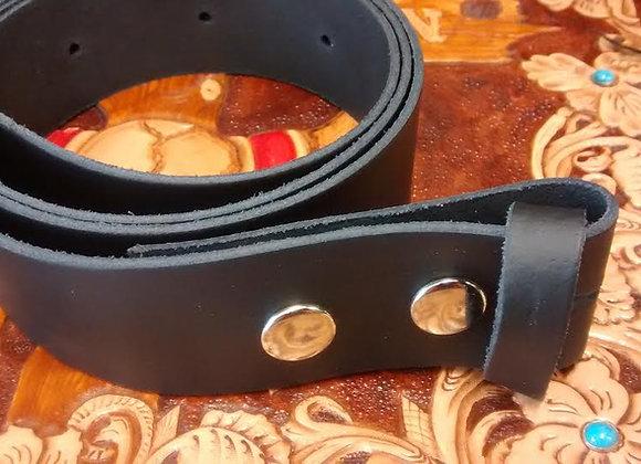 Black Leather Snap Belt (BE001)