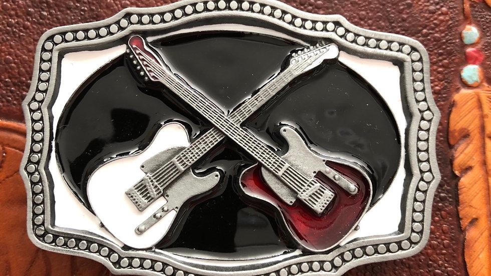 Crossed Guitar Belt Buckle