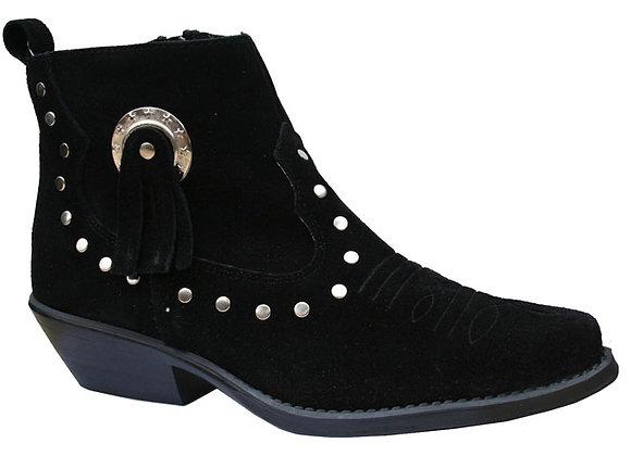 Santa Fe Black Suede Cowboy Ankle  Boot 13484