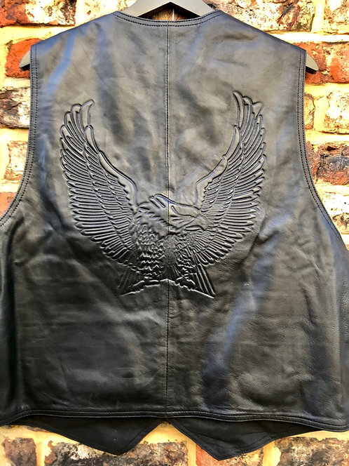 Leather waistcoat with embossed eagle on reverse