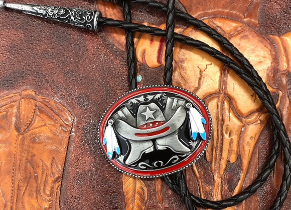 Western Cowboy Hat and Boot Bolo Tie