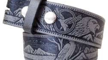 2-tone Embossed Leather Belt with Eagle design (BE008)
