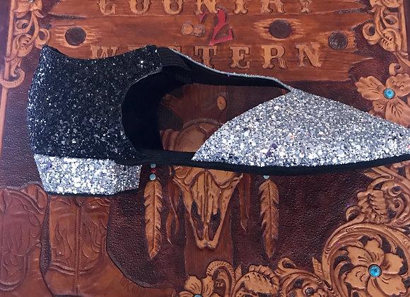 Multi colour Greek sparkle dance shoe