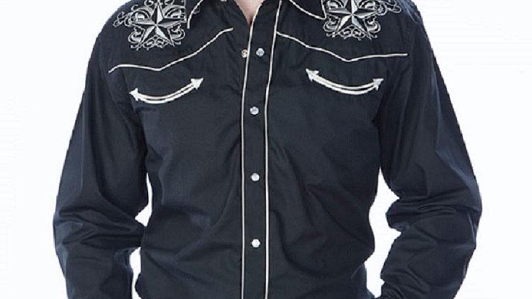 Classic Western Retro Star Shirt Black