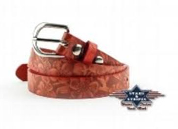 Ladies flower Leather Slimline Belt (BE011)