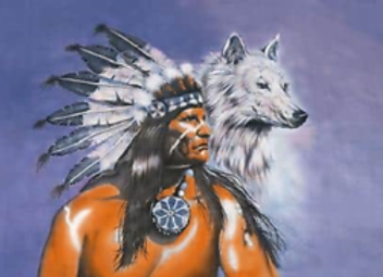 Native American Indian with wolf Flag