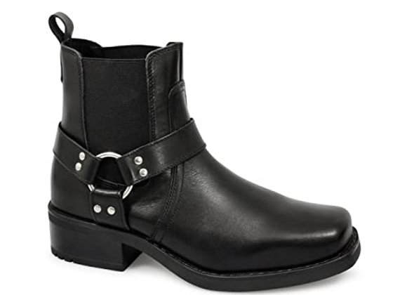 Black Leather Low Harley Boot