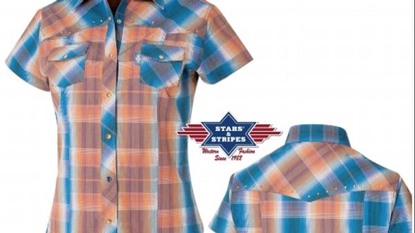 Ladies Short Sleeve Western Shirt by Stars & Stripes  ~ Dahlia