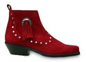 Santa Fe Red Suede Western Cowboy Ankle Boot  AS01R