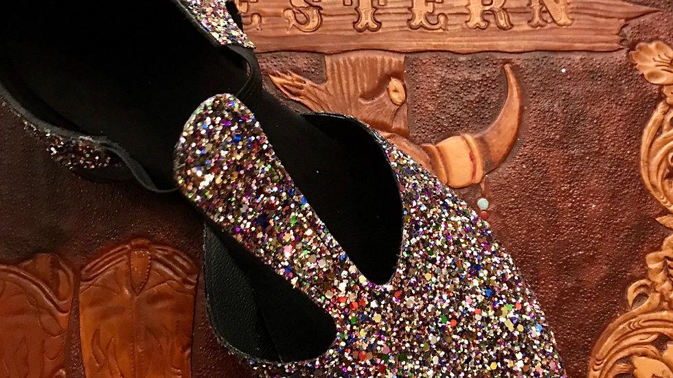 Multi coloured sparkle Greek Dance Shoe
