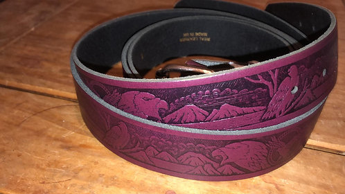 Leather Belt with embossed Eagle design  (BE005)