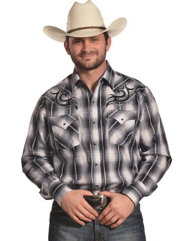 Plaid tribal Western shirt Black/white/grey