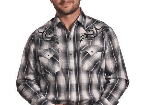 Plaid tribal Western shirt Black/white/grey