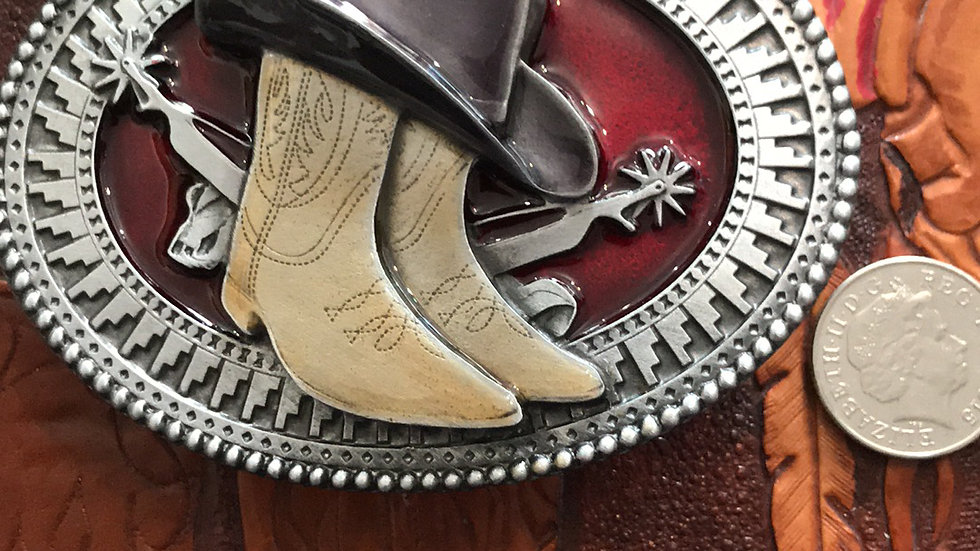 Cowboy Hat and Boots Belt Buckle