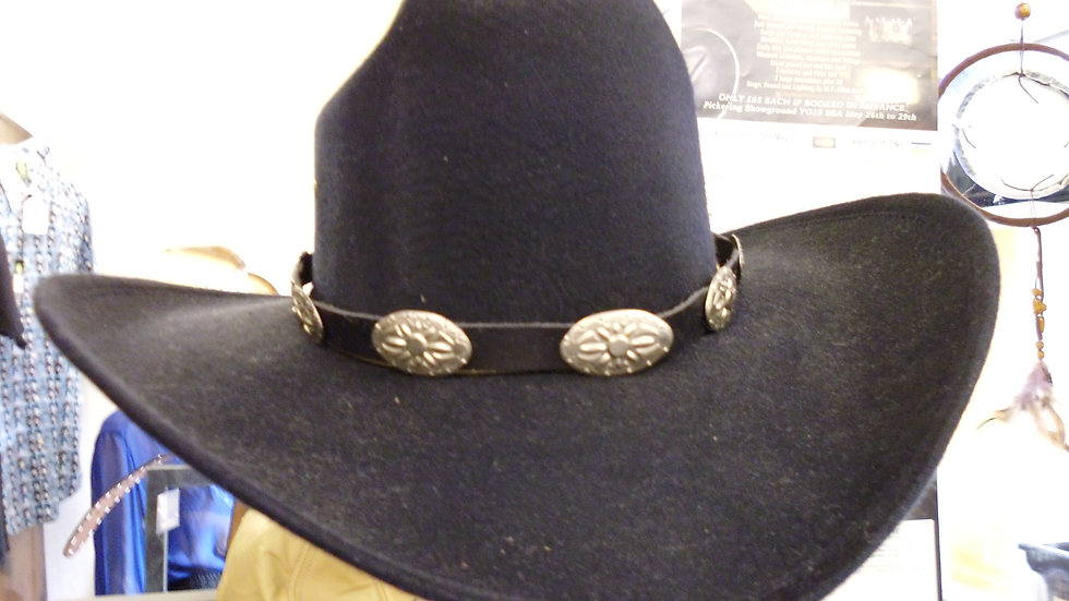 Black Leather hat band  SO5