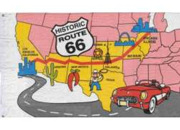 Route 66 Map Flag