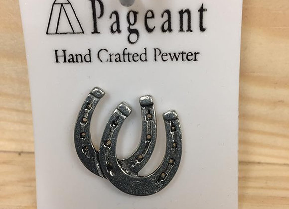 Pewter pin, horse shoe