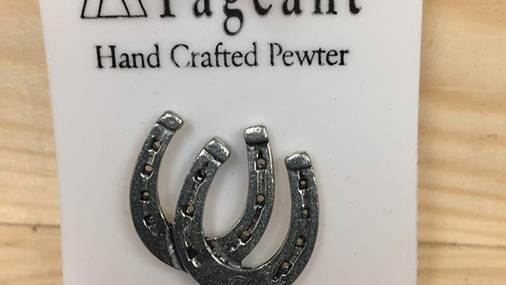 Pewter pin, horse shoe