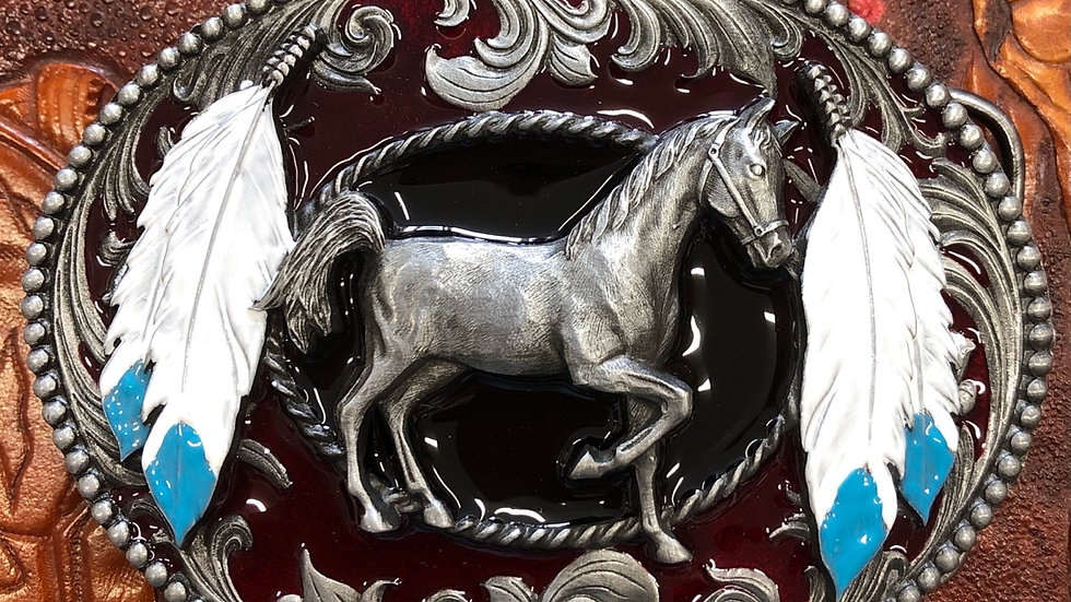 Tanside horse and feather buckle