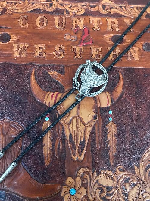 Western Saddle and Lasso Bolo Tie