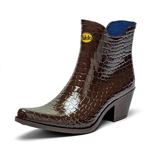 Boho mock croc ankle cowboy boot wellies