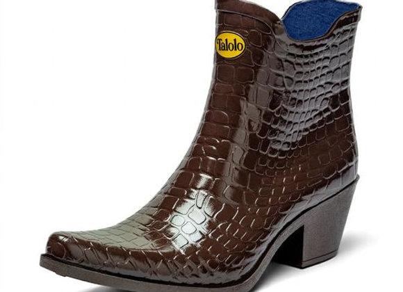Boho mock croc ankle cowboy boot wellies