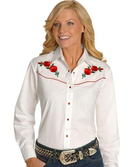 Ladies Embroidered Rose Shirt    EWR1