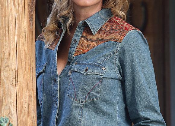 Ladies Denim Western Shirt  by Stars & Stripes ~ Elvita