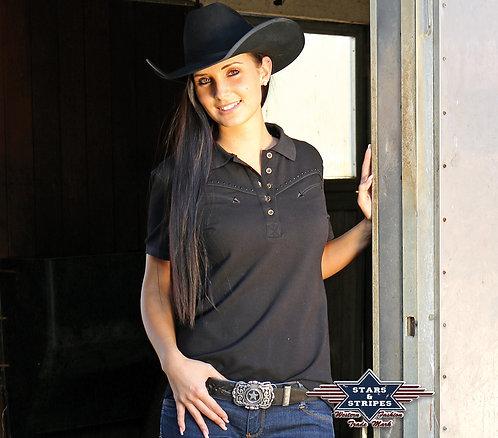 Western Polo Short Sleeved Shirt by Stars & Stripes  ~ Zoe