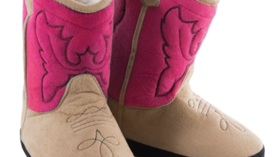 Childs Cowboy Booties / Slippers  Pink