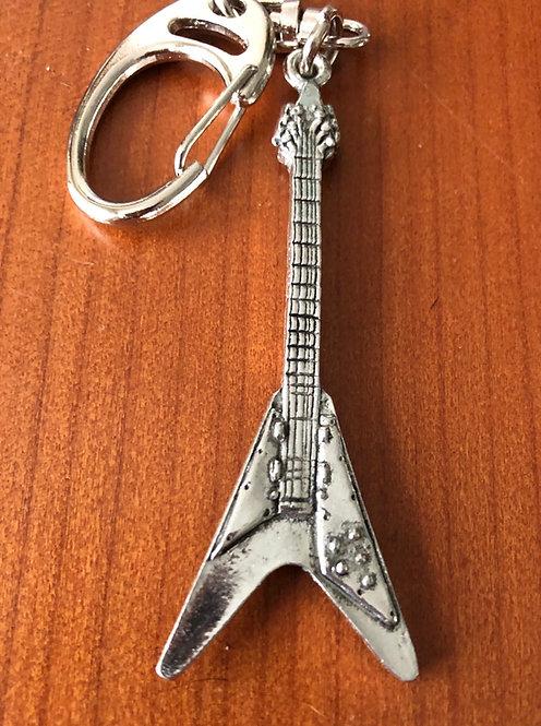 Pewter V Guitar Keyring