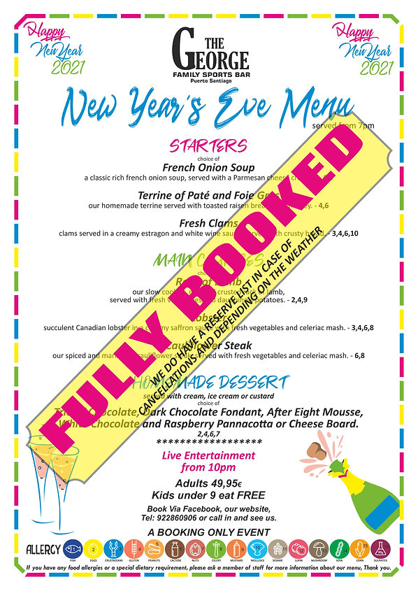 New Years Eve - George A3 fullly booked