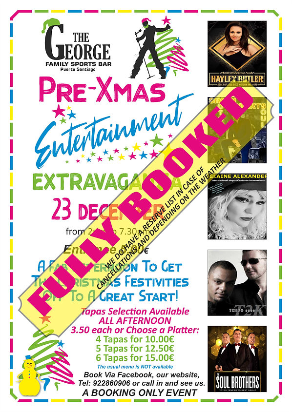 Pre -Xmas party 23rd- George A3 BOOKED -
