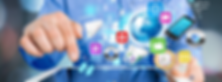 Social Media Icons Displayed above an Electronic Device