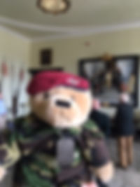 The Veterans Charity mascot Fred Bear enjoys a trip to RMA Sandhurst