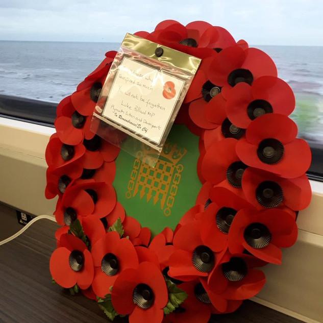 Luke Pollard MP sent a Poppies To Paddington wreath