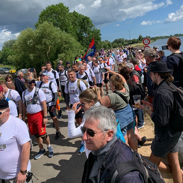 The runners arrived to a terrific welcome in Normandy