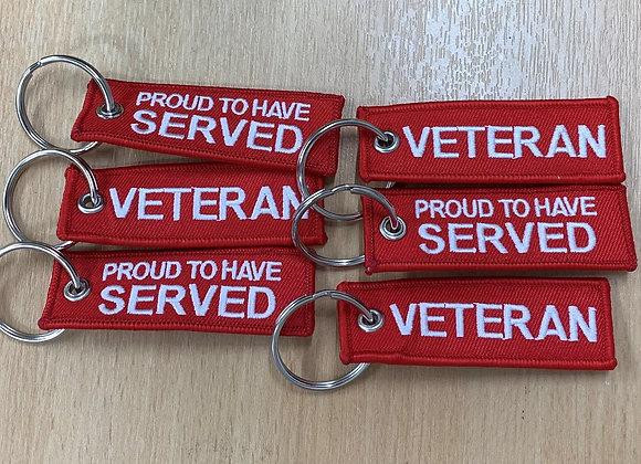 Proud Veteran Embroidered Keyring