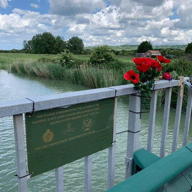 Our memorial plaque to no4 Glider at the River Dives bridge.