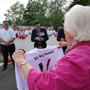 There was only one person who could have the t-shirt bearing the name of Major John Howard, oour Patron, Penny Bates who is his daubghter. She was presented the shirt during our closing ceremony and was delighted!
