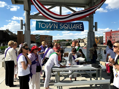 Making banners at Town Square.jpg
