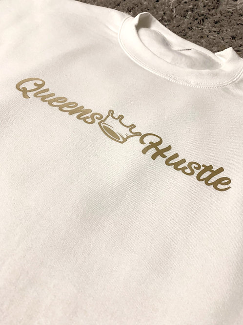 Queens Dreams & Hustle Sweater (Gold & White)