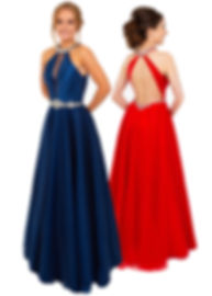 PF9645 Red Dress Navy Dress Backless Ball Gown